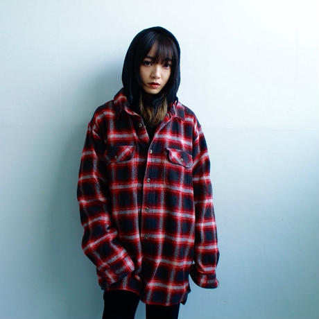 "ombre check shirt ""over size"""