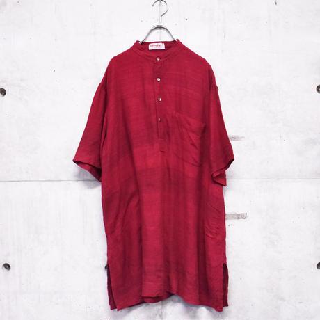 ∼70s S/S silk band collar design shirt
