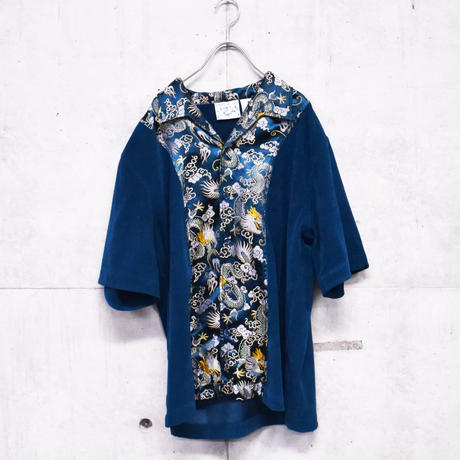 velor china design open collar shirt