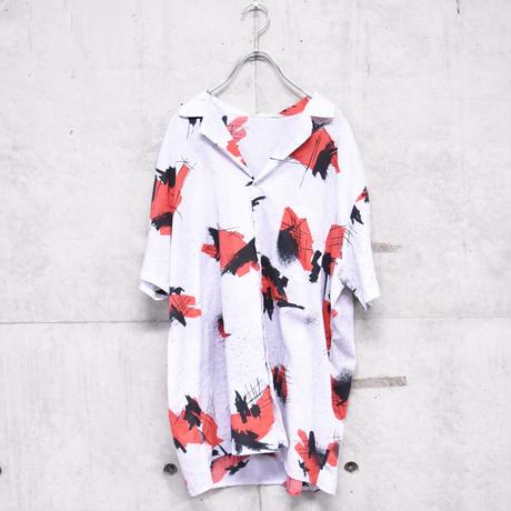 80s∼90s S/S multi print open collar shirt