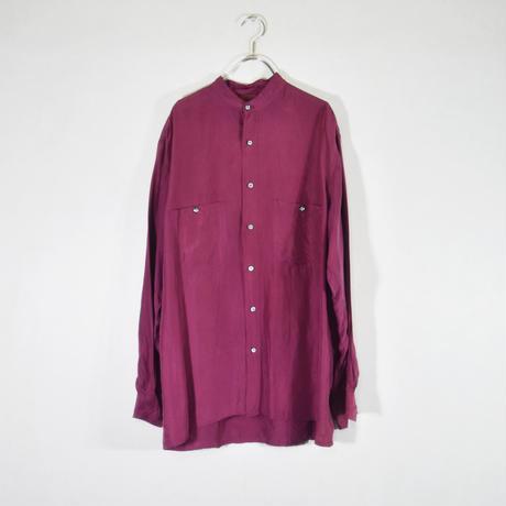 スタンドカラーシルクシャツ/S-0029