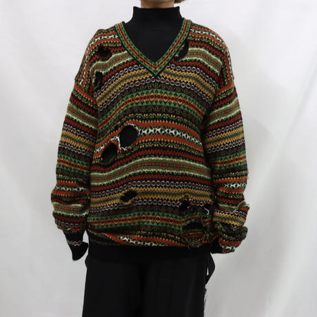 KENZO remake damage v-neck  knit