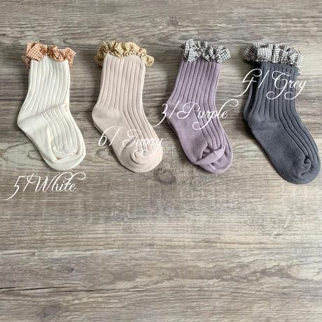 ギンガムチェックfrill付socks