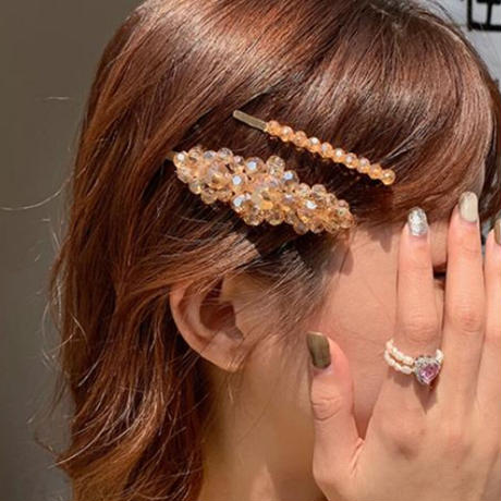 clear beads design ヘアクリップ