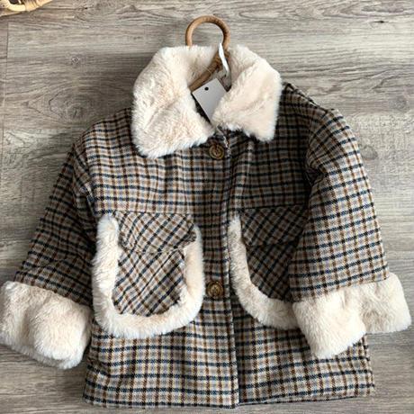 襟ファーチェックcoat