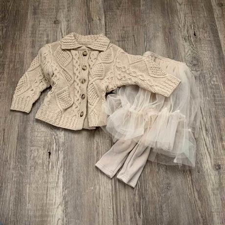 アラン編み襟付きcardigan