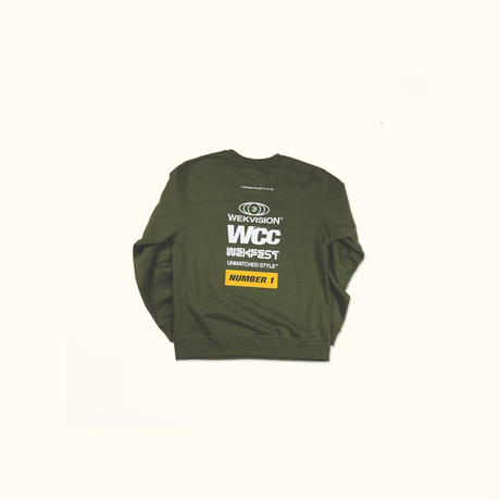 NUMBER 1 CREWNECK -ARMY GREEN