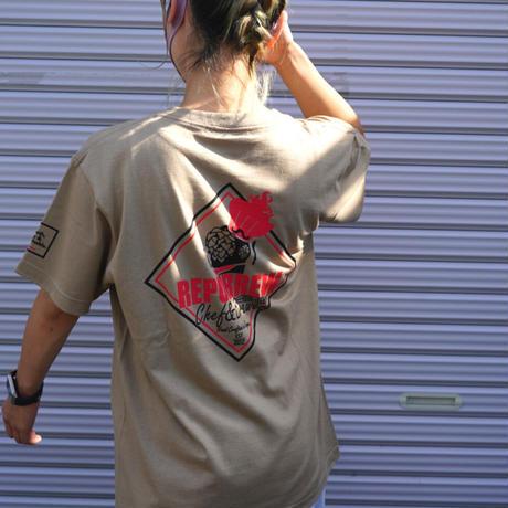 新色!サンドカーキ・◇型ロゴ・肩・胸ワンポイントT