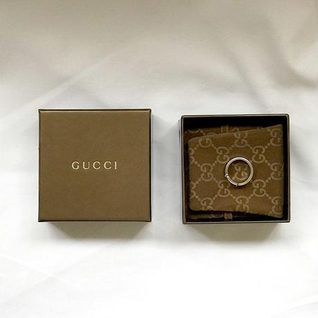 未使用 gucci logo plate silver ring 17号