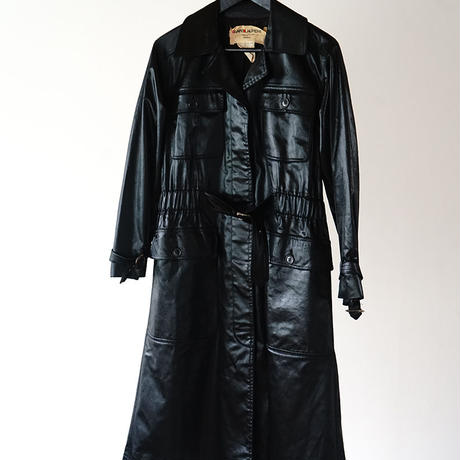 "Yves Saint Laurent rive gauche ""初期"" fake leather coat black"