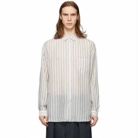 """新品 maison margiela 2020ss """"白タグ"""" stripe cupro long shirt 40"""