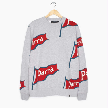 by Parra / crewneck sweatshirt flapping flag - heather grey