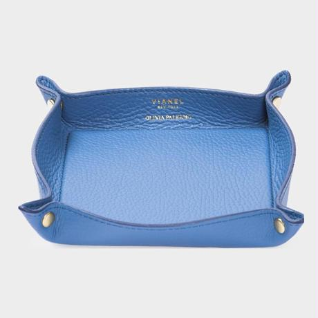 VIANEL NEW YORK LEATHER TRAY - CALFSKIN TEAL (OLIVIA PALERMO)