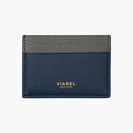 VIANEL NEW YORK /  V3 CARD HOLDER - Carfskin Navy / Grey