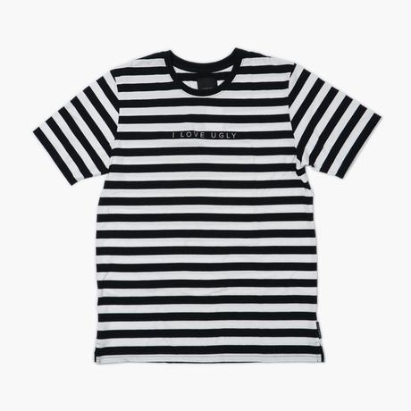 I LOVE UGLY / STRIPE LOGO TEE - BLACK / WHITE
