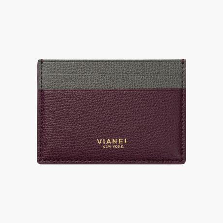 VIANEL NEW YORK /  V3 CARD HOLDER - Carfskin Oxblood / Grey