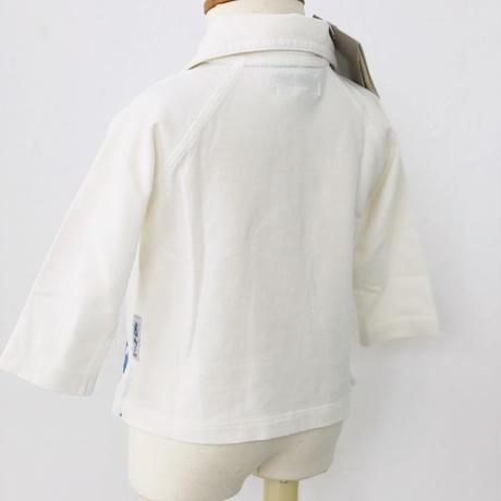 ARMANIBABY 長袖 ポロシャツ  ホワイト×ブルー 裾ロゴ 6M
