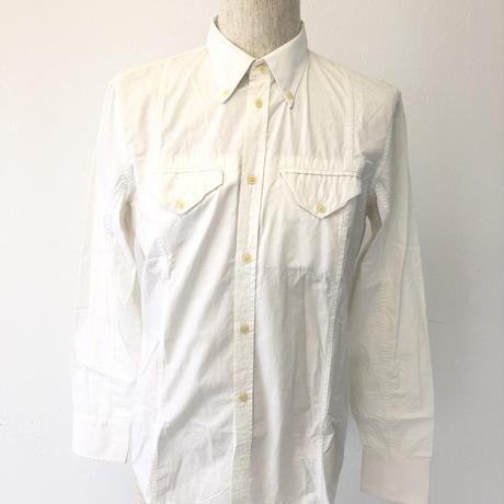 ディーゼル メンズ  シャツ  ホワイト 刺繍 M 001
