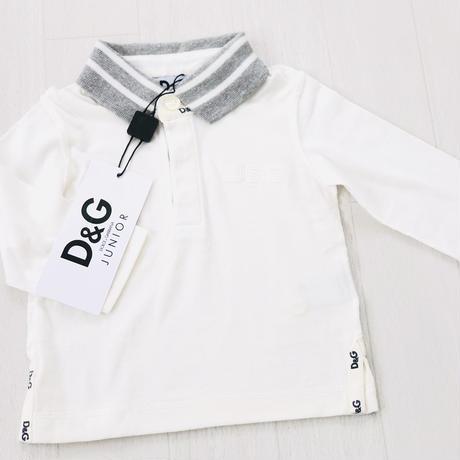 D&Gジュニア D&G junior アパレル ポロシャツ ホワイト×グレー ロックミシン切返し 胸&襟&裾ロゴ長袖ポロシャツ3/6M