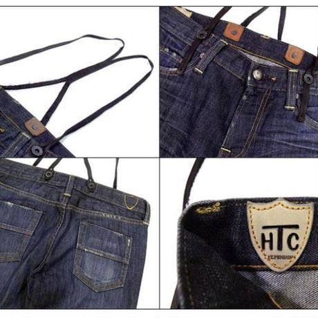 エイチティーシー HTC アパレル ジーンズ  TWIG 0611 220 インディゴ×ブラック HTC ロゴ入りフロントラウンドボタン レザーサスペンダー付きジーンズ