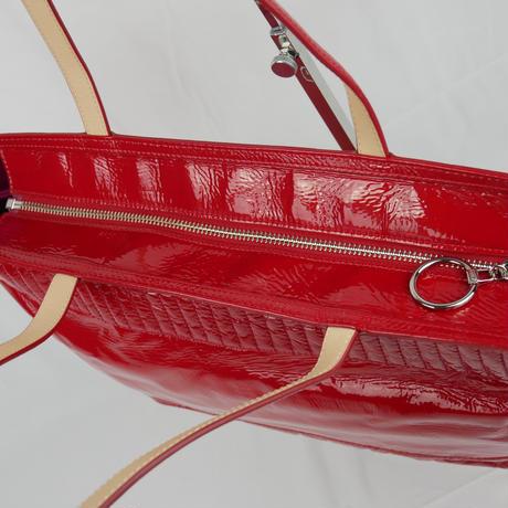 アウトレット品 COACH ポピー トートバッグ  チェリー リキッド グロス B135