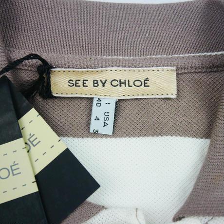 SEE BY CHLOE SbCロゴ入りボーダー長袖ポロシャツLT509