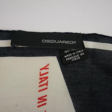アウトレット品 DSQUARED ディースクエアード ロゴ カーイラスト スカーフ LZ602