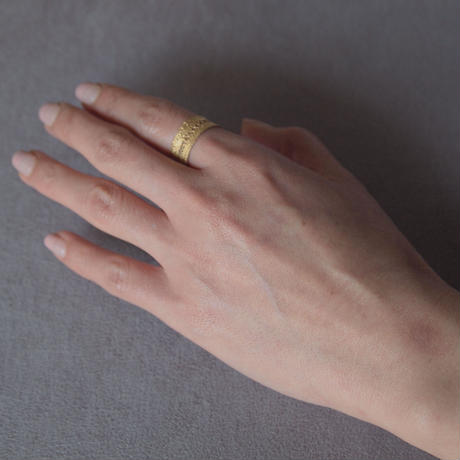 Recollection lace ring (M) | Silver × Yellow Gold coating