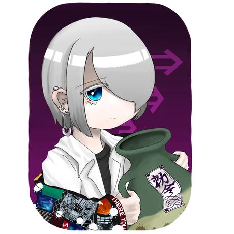 よわむしちゃん/オリジナル缶バッチ【角丸縦76x51mm】