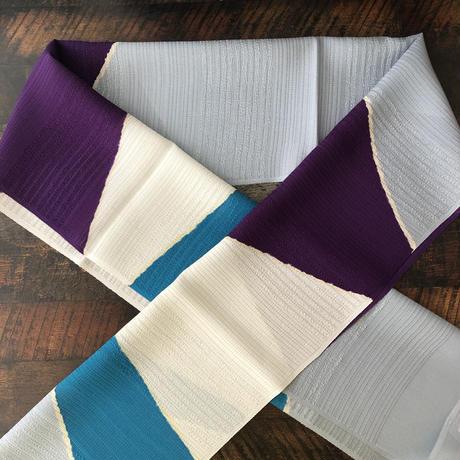 夏物絽帯揚 キリリと紫とターコイズの効いた帯揚