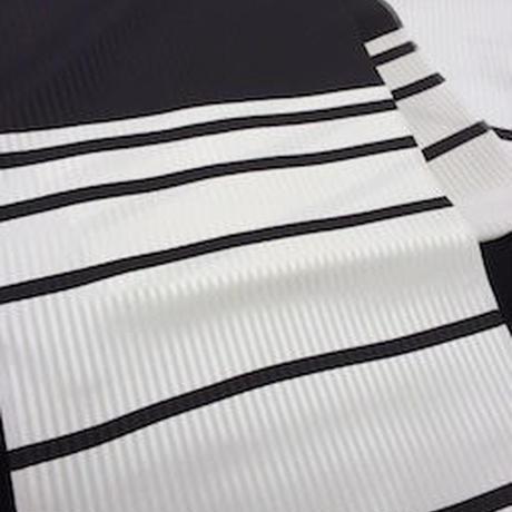 朱音屋オリジナル帯揚 barrystripe  プラチナ×黒