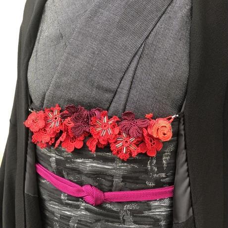 【トルコのオヤ糸屋さん】 フラワーガーデンブレスレット羽織紐・カーマインレッド・Sカンつき