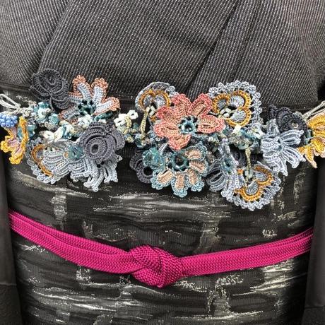 【トルコのオヤ糸屋さん】 フラワーガーデンブレスレット羽織紐・ブルーグレー・Sカンつき