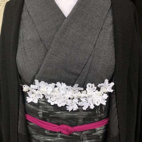 【トルコのオヤ糸屋さん】 フラワーガーデンブレスレット羽織紐・スノーホワイト・Sカンつき