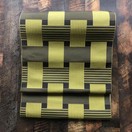お仕立て付き 博多織八寸名古屋帯 Check&Stripe