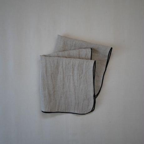 atelier Une place / LINEN W GAUZE CHIEF -BLACK L-