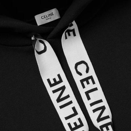 新品★21FW★CELINE Hedi Simane セリーヌ ストリング付きフード付き CELINE ルーズ スウェットシャツ ブランドロゴ パーカー プルオーバーフー ディ