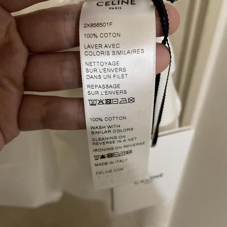 新品★21FW★CELINE Hedi Simane セリーヌ ブランドロゴ シャンボールプリント ルーズTシャツ 白 L