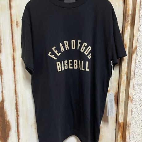 ★新品タグ付 FEAR OF GOD baseball 7th collection フィアオブゴッド ブランドロゴ フロッキープリントTシャツ ロゴTシャツ