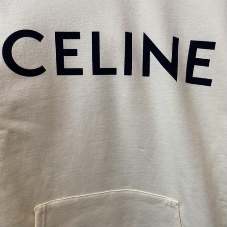 新品★21SS★CELINE Hedi Simane セリーヌ ブランドロゴ パーカー フーディ ルーズスウェットシャツ イエロー Sサイズ