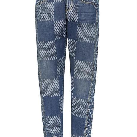 貴重30サイズ 新品 Louis Vuitton NIGO ルイヴィトン コラボ ジャイアント ジャイアントダミエ ウェーブス モノグラム デニムパンツ ブルー
