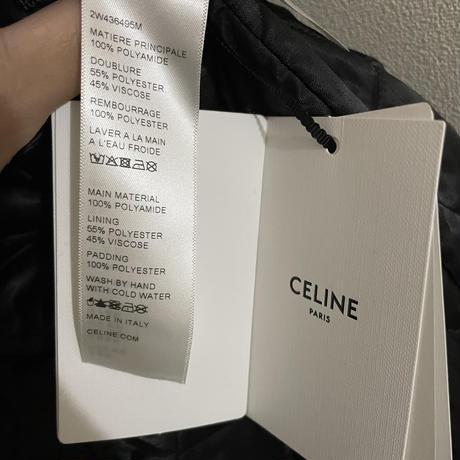新品★21FW★CELINE Hedi Simane セリーヌ バックロゴ フード CELINE フード付き テディブルゾン 軽量ナイロン 中綿ダウンジャケット