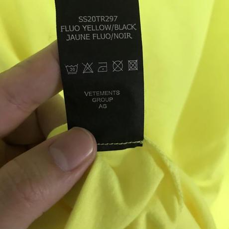 新品タグ付★20SS★VETEMENTS ヴェトモン アナーキー ロゴ オーバーサイズ Tシャツ XSサイズ イエロー