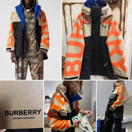 新品タグ付き★BURBERRY バーバリー 袖ロゴプリント カラーブロック テクニカルツイル ジャケット マウンテンパーカー マンパ