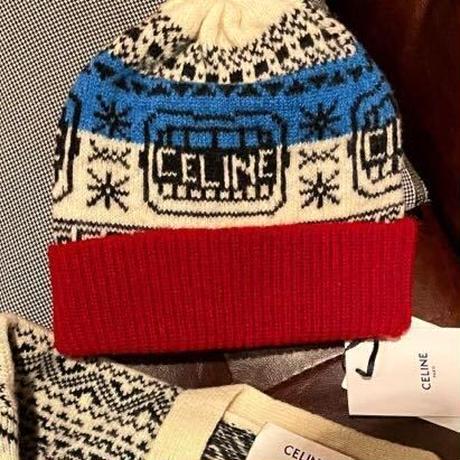 新品タグ付★CELINE セリーヌ ロゴ THE DANCING KIDニット帽 ウールジャカード フェアアイル ビーニー ニットキャップ Hedi Simane