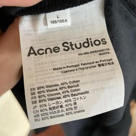 新品 ACNE STUDIOS  アクネ ストゥディオス ネックブランドロゴ ロゴバインディング スウェットシャツ トレーナー オーバーサイズ