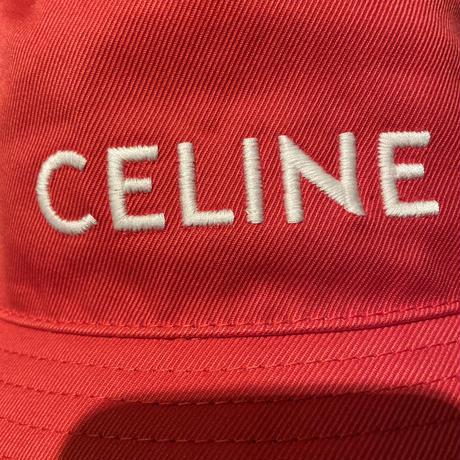 新品タグ付★21SS★CELINE Hedi Simane セリーヌ ブランドロゴ  刺繍タイプ バケットハット RED