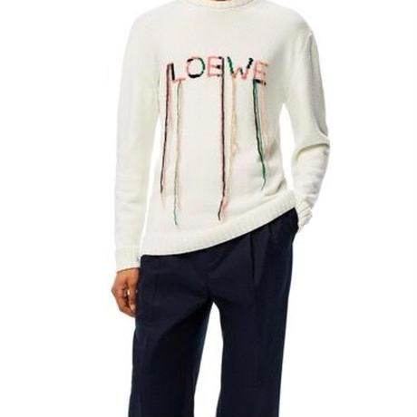 新品★LOEWE ロエベ ブランドロゴ ステッチ 垂れ糸 コットンニット セーター