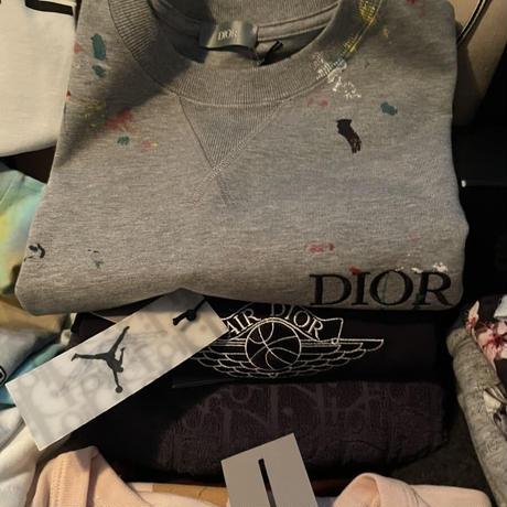 新品★ DIOR ディオール ブランドロゴ ペンキ 飛沫 ペイント オーバーサイズ スウェット 半袖Tシャツ オーバーサイズ S 定価111500円