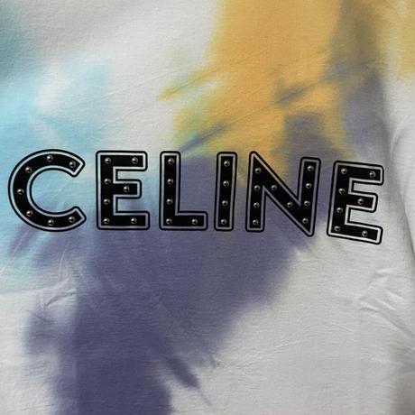 新品★21SS★CELINE Hedi Simane セリーヌ ブランドロゴ スタッズ付き タイダイ ルーズ Tシャツ マルチカラー 定価72,600